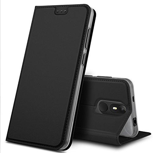 Wiko View Lite Hülle, GeeMai Premium Flip Case Tasche Cover Hüllen mit Magnetverschluss [Standfunktion] Schutzhülle Handyhülle für Wiko View Lite Smartphone, Schwarz