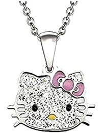 9821adea77af Bijoux Kids – Colgante plateado Hello Kitty cristal strass transparente ...