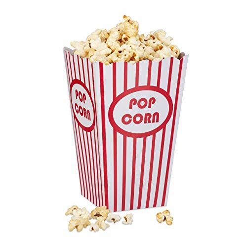 Relaxdays, rot/weiß Popcorntüten, 48 Stück, gestreift, US-Retrostyle, Kino, Filmabend Zubehör, Kindergeburtstag, Pappe, 48er Set