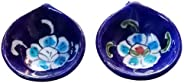Aditya Blue Art Pottery Ceramic Quartz Designer Handmade Traditional Decorative Dipawali/Diwali Diya/Oil Lamps