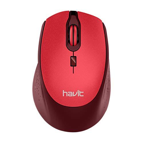 Havit Ratón Inalámbrico Mouse 2.4G Raton Inalámbrico Portatil 2000DPI con Receptor USB, Raton para Macbook,PC, Ordenador Portátil, Notebook, Macbook (Rojo)