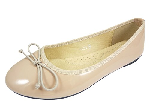 Ballerines noeud vernies chaussures femme casual à bout rond Beige