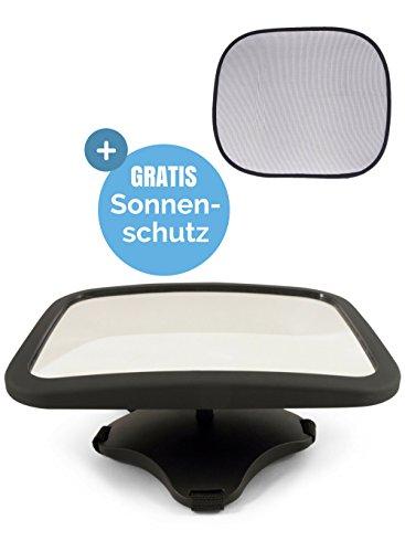 Babyspiegel für's Auto | Rücksitzspiegel für Babys (Kindersitz-Spiegel) - Autospiegel / Rückspiegel für's Baby im Matt-Finish-Rahmen, splitterfrei & sicher