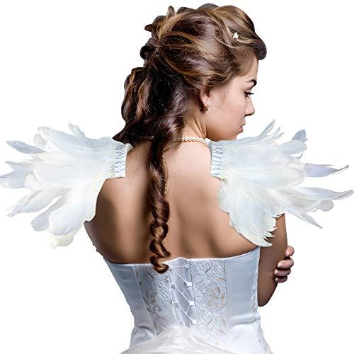 Homelex Gotisch Weiß Wirklich Feder Epaulette Schulter Flügel Für Männer Damen (YM-17)