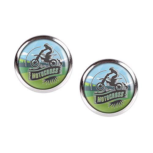 Mylery Ohrstecker Paar mit Motiv Moto-Cross MX Enduro Motor-Rad silber 12mm -