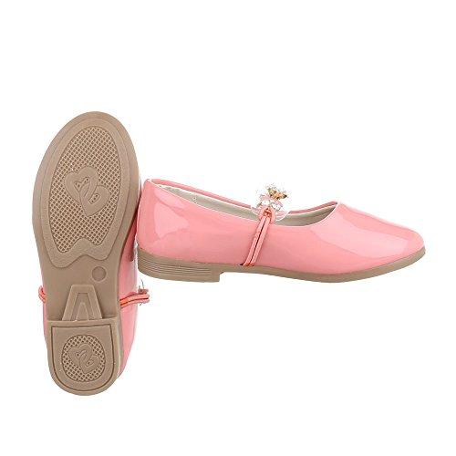 Halbschuhe Kinderschuhe Oxford Blockabsatz Mädchen Ital-Design Ballerinas Rosa