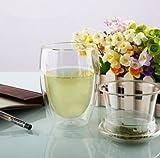 350 ml, colore: trasparente-Tazza da tè in vetro con infusore, doppio strato, con coperchio