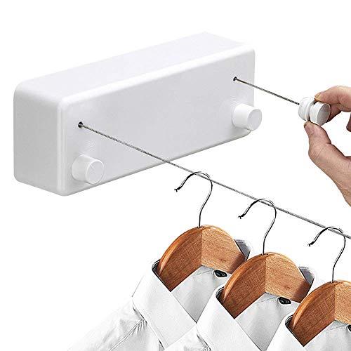 Zhangzhiyua stendibiancheria retrattile con doppia corda in acciaio inossidabile regolabile in stile hotel resistente per bagno, linea di asciugatura a parete per lavanderia per doccia