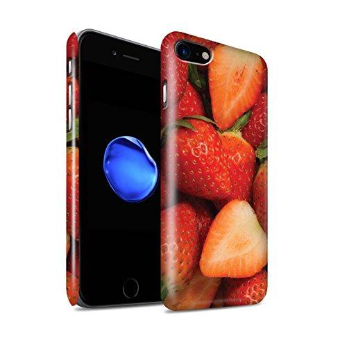 STUFF4 Glanz Snap-On Hülle / Case für Apple iPhone 8 / Melone Muster / Saftige Frucht Kollektion Fraise/Geschnitten