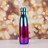 Simmia Sport Sportflasche Thermosflasche Thermoskanne Trinkflasche Wasserflasche Isolierflasche,Edelstahl Thermoskanne 304 Edelstahl, Farbverlauf Lila, 500ml