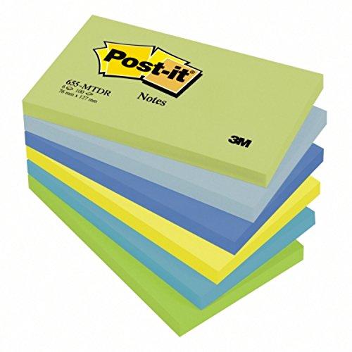Post-it Notes Dreamy Collection 655MTDR – Selbstklebende Haftnotizzettel in 76 x 127 mm – 6 Notizblöcke rechteckig à 100 Blatt in 6 Farben