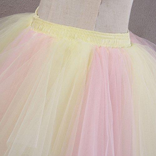 VKStar® Retro Damen Kurz Rock Ballett Einheitsgröße Vintage petticoat 50er Unterrock Reifrock Mehrfarbige Unterröcke Mischfarbig H