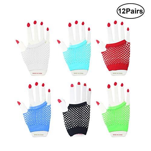 Fischnetz Handschuhe Kostüm - YeahiBaby 12 Paar Fischnetz Handschuhe Fingerlose Neon Handschuhe Netz Kostüme