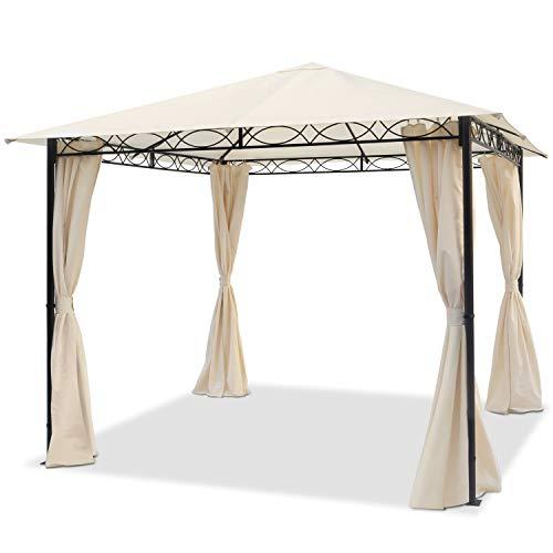 TOOLPORT Gartenpavillon 3x3 m wasserdicht Pavillon mit 4 Seitenteilen Gartenzelt 180g/m² Dachplane in Champagner Partyzelt