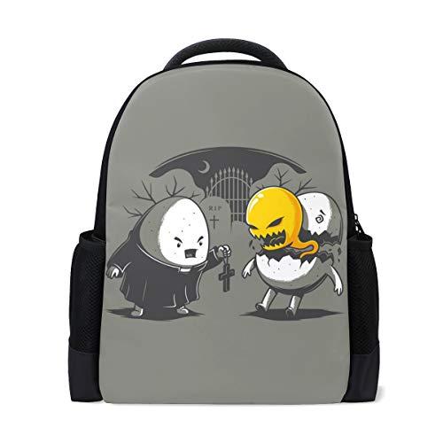 Studenten-Rucksäcke für Schule, Buchtasche, Reisen, Wandern, Camping, Tagesrucksack für Jungen und Mädchen, 40,6 x 30,5 x 15,4 Zoll Laptop, Halloween-Ei