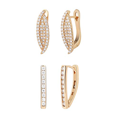 Bronze-gold Leaf (Emibele Hoop Earrings, Well Plated Bronze Leaf shaped and 1-shape Hook Earrings, Simple Elegant Pierced Earrings Fit Universal Occasions for Girls and Ladies - Champagne Gold (2 pairs))