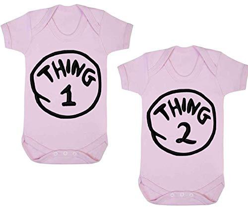 Cosa 1Cosa 2bebé Grow Funny Gemelos Body chaleco 2unidades Set, color rosa oscuro rosa rosa Talla:0-3 Meses