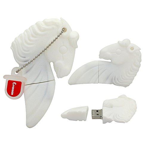 Flash Drive 8GB Memory Stick Pen Drive USB2.0 Tierform Cute Cartoon White Horse Daumen Drives für Datum Speicher Geschenk für Schüler Kinder Kinder Lehrer Collegue Mitarbeiter