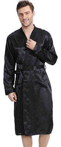 Schwarze Satin-robe (FLYCHEN Herren Lange Klassische Satin Robe Morgenmantel Bademantel 4 Farbe Schwarz L)