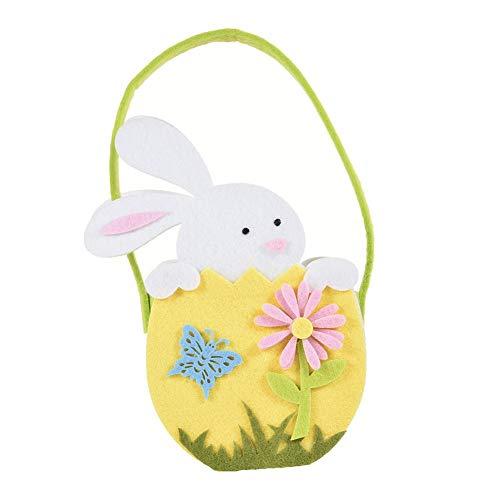 haodene Borse pasquali Rabbit Ears Design con Fiore Candy Bag Articoli per Feste di Pasqua Borsa Tote Bomboniere Regali per Bambini Blue Pink