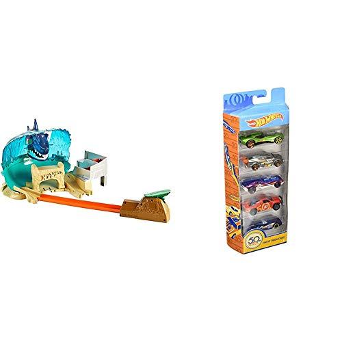 Hot Wheels - Pack Pista Tiburón Megadestrucción + Pack de 5 coches