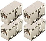 odedo® 4er Set CAT 6 RJ45 LAN Verbinder Netzwerk Kabel geschirmt Metall Patch Kupplung Cat6 Inline-Coupler STP