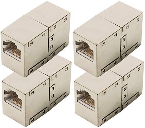 odedo® 4er Set CAT 6 RJ45 LAN Verbinder Netzwerk Kabel geschirmt Metall Patch Kupplung Cat6 Inline-Coupler STP -