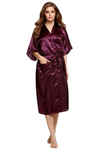 ZEARO 2016 Kimono Robe Schlafanzug Damen Bademantel Satin Pyjama Lange Morgenmantel Nachtwäsche Lila