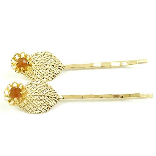 rougecaramel - Accessoires cheveux - Mini pince fantaisie métal doré forme feuille 2pcs - orange