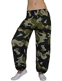 S&LU Neue und topaktuelle Damen Haremshose, Pluderhose in 3 verschiedenen Camouflage/Tarn Designs von XXS bis XXXXXXL (6XL) wählbar