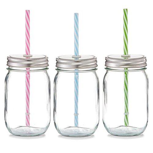 6x Zeller Glas Flasche 470ml mit Deckel & buntem Strohhalm