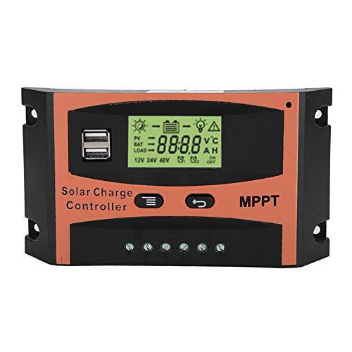 Presupuesto: condicion: NUEVO Material: ABS Color: Naranja + Negro Tamaño: como muestra la imagen Corriente nominal de carga: 30A, 40A, 50A, 60A (opcional) Voltaje nominal: 12 / 24V (automático) Salida USB: 2.1A X2 Sobre Corriente de Carga: 13.7V / 2...