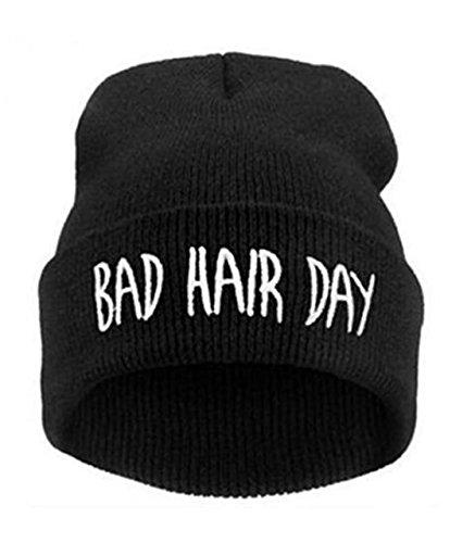 SUNMUCH Bad Hair Day Beanie Mütze Haube Wintermütze Strickmütze Einstickung Cool ()