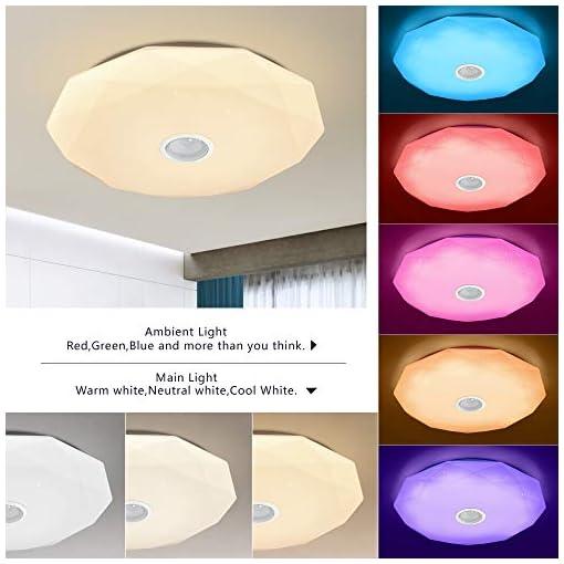 Lampada da soffitto a LED con telecomando APP e altoparlante Bluetooth MP3 24 W cambia colore, stelle, dimmerabile, bianco caldo, bianco freddo, 2800-6500 Kelvin, RGB luce ambiente X5132