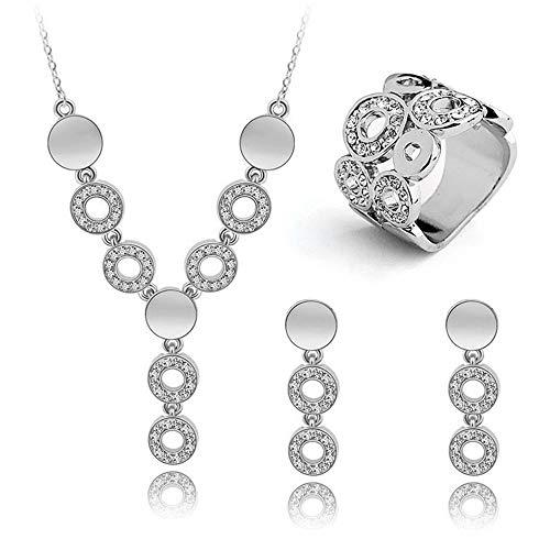 Mode Frauen Schmuck Set Classy Kristall Halskette Ohrringe Ring Hochzeit Gold/Silber für Frau Kleid ()
