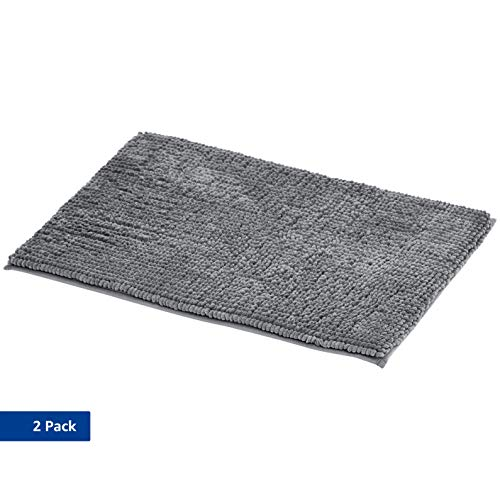 AmazonBasics - Badematte, Chenille-Schlaufen, Memory-Schaum, Grau, 50 x 80 cm, 2er-Pack