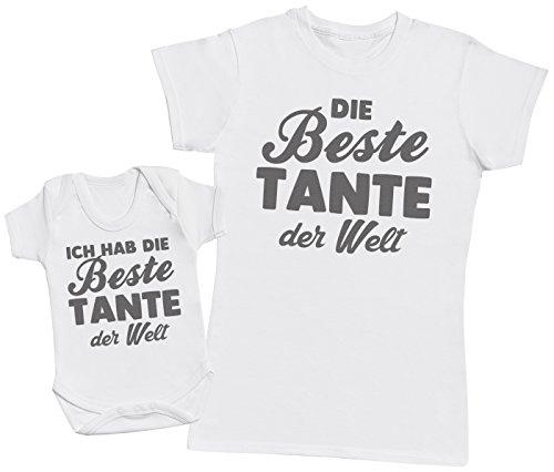(Die Beste Tante der Welt - Passende Tante Baby Geschenk Set - Damen T-Shirt & Baby Strampler - Weiß - S & 74 (6-12 Monate))