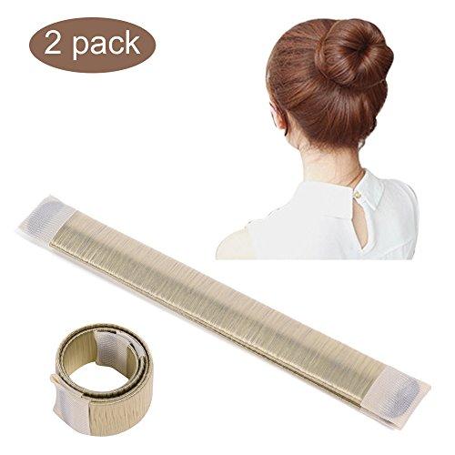 2 Stk Damen Fashion Haarstyling Tool Frühling Mode Frisur Donut Hair Bun Maker DIY Brautfrisur Brautschmuck Rolle, Beige