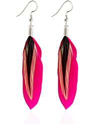LUFA Boucles d'oreilles multicolores en plumes noires et pendentifs Bohemia Folk Style Boucles d'oreilles en argent