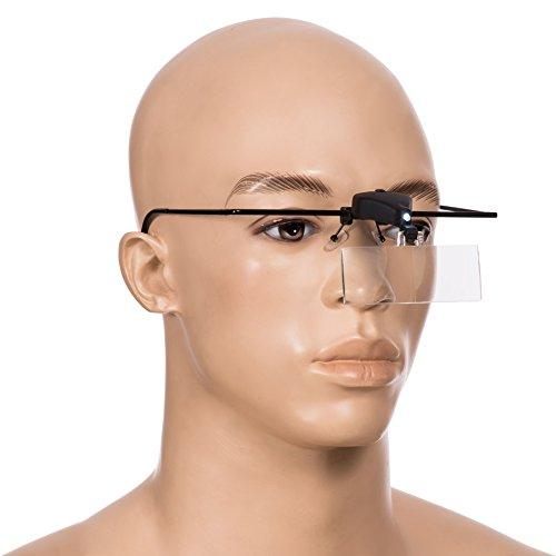 Brillenlupe LED Beleuchtung - 3 Wechsellinsen (1,5- 2,5- 3,5-fach Vergrößerung) - Lupenbrille Feinarbeit und Lesehilfe