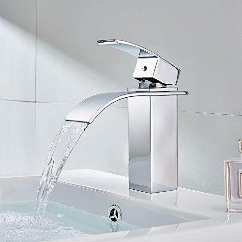 Auralum® Design Einhebel Wasserhahn Armatur Waschtischarmatur Wasserfall Einhandmischer für Badezimmer Waschbecken - 4