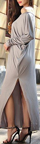 Damen Maxikleid Kleid Freizeitkleid Oblique O Ausschnitt Langarm Irregular Die Neue Geöffnete Gabel Trägerlos Uni-Farben Sommer Einteiler 2017 Grau