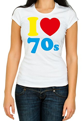 I Loveheart the 70s T-shirt for Women. S to XXL