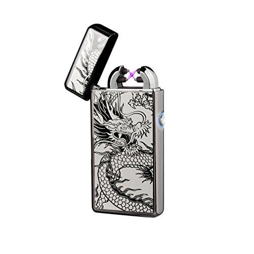 Emsmil USB Accendino Elettronico Doppio Elettrico Arco Accendino Accendini al Plasma Elettrici Ricaricabile Arc Lighter Antivento Accendino Sigaretta Elettronica Senza Fiamma Senza Gas - Drago