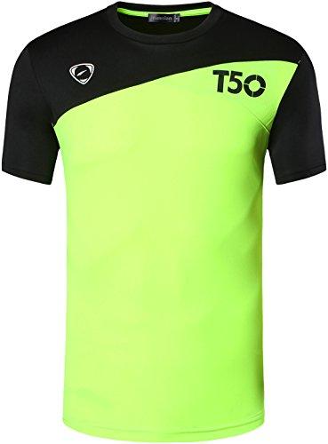 Jeansian Uomo Asciugatura Rapida Sportivo Casuale Slim Sports Fashion Tee T-Shirts Camicie LSL131 GreenYellow