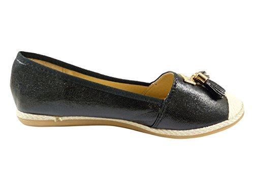 Ballerines espadrilles chaussures femme, à pompons Noir
