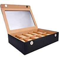 LEDO Watch box holder organizer case for Men and Women in Black color with 10 slots of watches