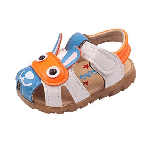 Elecenty Sandalen LED Beleuchtet Babyschuhe,Kleinkind Unisex Mädchen Junge Schuhe Flach Shoes Offene Karikatur Sandaletten Atmungsaktiv Sommerschuhe Strandschuhe Kinderschuhe (25, Blau)