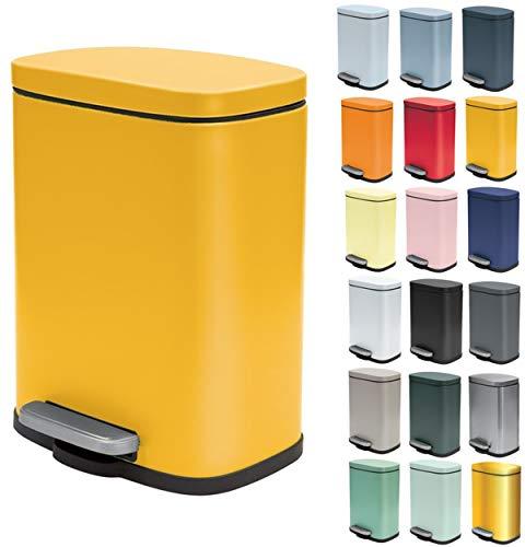 Spirella Kosmetikeimer 5 Liter Edelstahl mit Absenkautomatik und Inneneimer Akira Badezimmer Mülleimer Softclose Abfalleimer Gelb
