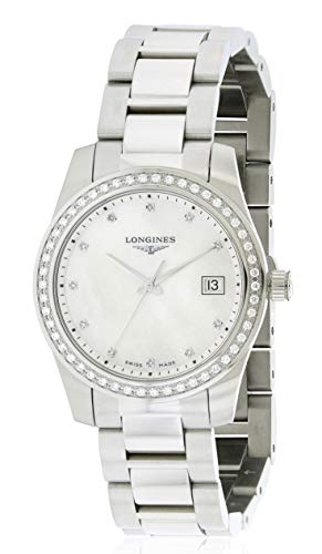 Longines Conquest Stainless Steel Mother-of-Pearl L34000876 Diamond Bezel Date Quartz Womens Watch